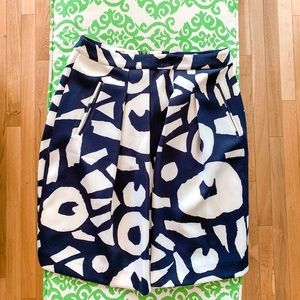 Loft | Navy and White skirt | Front Pockets